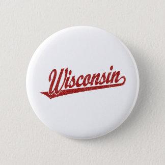 Wisconsin script logo in red distressed 6 cm round badge