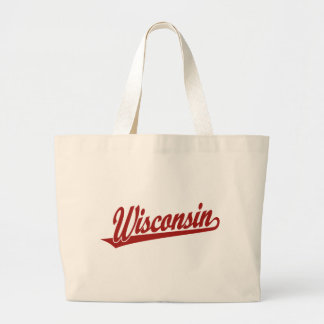 Wisconsin script logo in red large tote bag