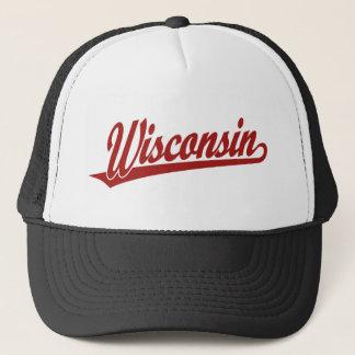 Wisconsin script logo in red trucker hat
