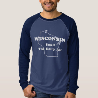 Wisconsin Smell The Dairy Air Long Sleeve Ringer T-Shirt