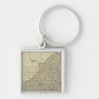 Wisconsin South part Silver-Colored Square Key Ring