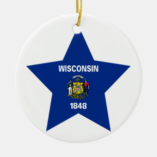 Wisconsin Star Christmas Ornament