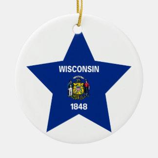 Wisconsin Star Round Ceramic Decoration