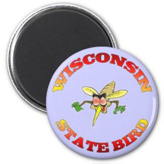Wisconsin State Bird 6 Cm Round Magnet