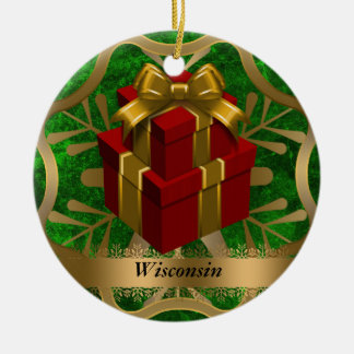 Wisconsin State Christmas Ornament