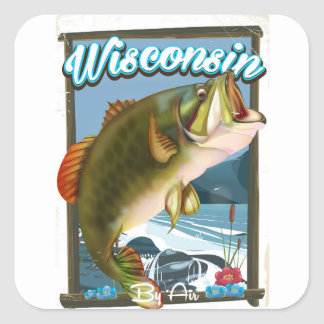 Wisconsin State fishing poster Square Sticker
