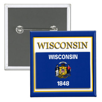 Wisconsin State Flag Design Button