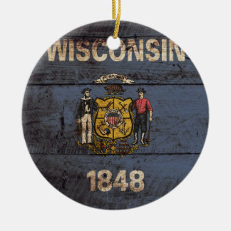 Wisconsin State Flag on Old Wood Grain Christmas Ornament
