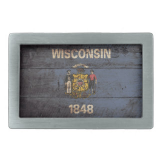 Wisconsin State Flag on Old Wood Grain Rectangular Belt Buckle