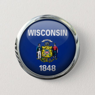 Wisconsin State Flag Round Glass Ball 6 Cm Round Badge