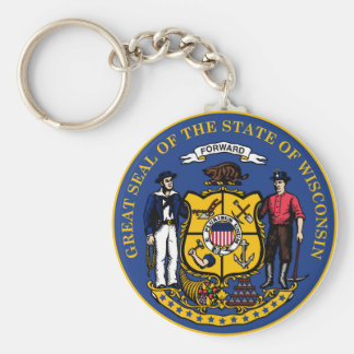 Wisconsin state flag seal united america country r key ring