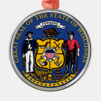 Wisconsin state flag seal united america country r Silver-Colored round decoration