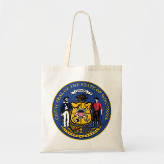 Wisconsin state flag seal united america country r tote bag