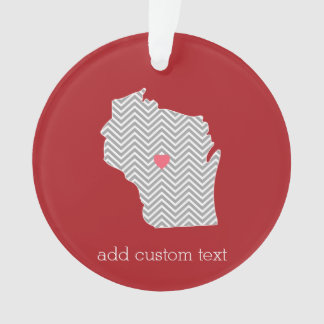 Wisconsin State Map with Custom Red Heart and Name