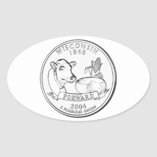 Wisconsin State Quarter Oval Sticker