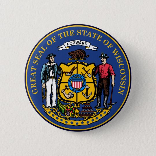 Wisconsin State Seal 6 Cm Round Badge