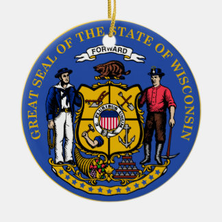 Wisconsin State Seal Christmas Ornaments