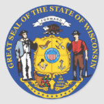 Wisconsin State Seal Round Sticker
