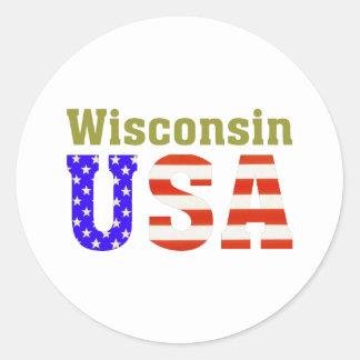 Wisconsin USA! Classic Round Sticker