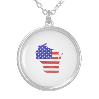 Wisconsin USA flag silhouette state map Silver Plated Necklace