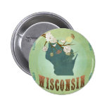 Wisconsin Vintage State Map – Green 6 Cm Round Badge