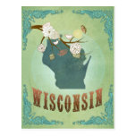 Wisconsin Vintage State Map – Green Post Card