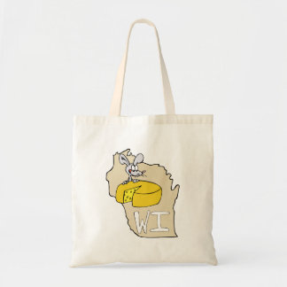 Wisconsin WI Map & Cheese Mouse Cartoon Art Tote Bag
