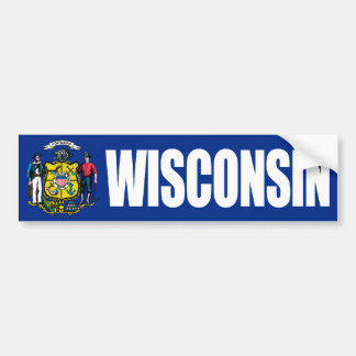 Wisconsin with State Flag Bumper Sticker