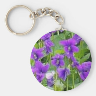 Wisconsin Wood Violets Basic Round Button Key Ring