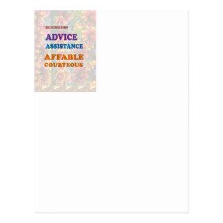 Wisdom Checklist: ADVICE assistance affable kind Postcard