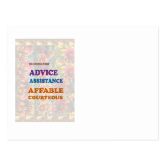 Wisdom Checklist: ADVICE assistance affable kind Postcard