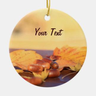 Wisdom Miraculous Common Acorns Autumn Leaves Round Ceramic Decoration