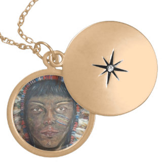 """Wisdom"" Native American In Headdress Gold Plated Necklace"