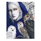 Wisdom Owls Shaman Fantasy Postcard