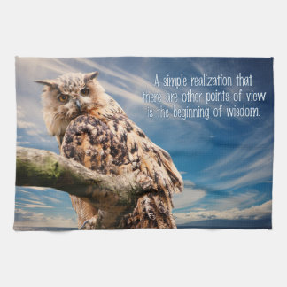 Wisdom Quote Owl hand towel