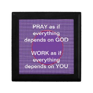 Wisdom words: GOD Work Pray Intensity Emotion Small Square Gift Box