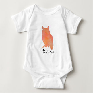 Wise as an Owl Typographical Watercolor Baby Bodysuit