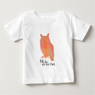 Wise as an Owl Typographical Watercolor Baby T-Shirt