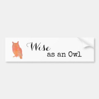 Wise as an Owl Typographical Watercolor Bumper Sticker