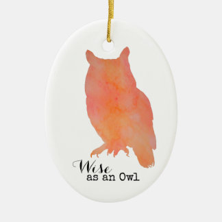 Wise as an Owl Typographical Watercolor Ceramic Oval Decoration