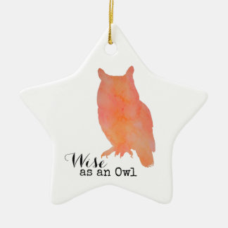 Wise as an Owl Typographical Watercolor Ceramic Star Decoration