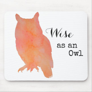 Wise as an Owl Typographical Watercolor Mouse Mat