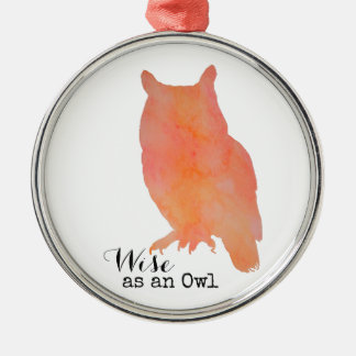 Wise as an Owl Typographical Watercolor Silver-Colored Round Decoration