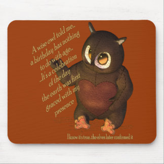 Wise Birthday Owl Mouse Pad