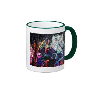 Wise Forest Owl Fantasy Ringer Mug