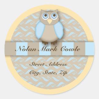 Wise Little Owl Address Label Round Stickers