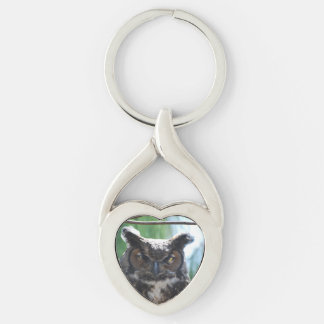 Wise Long Eared Owl Silver-Colored Heart-Shaped Metal Keychain