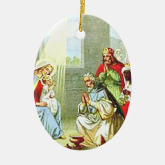 Wise Men At The Nativity Double-Sided Oval Ceramic Christmas Ornament