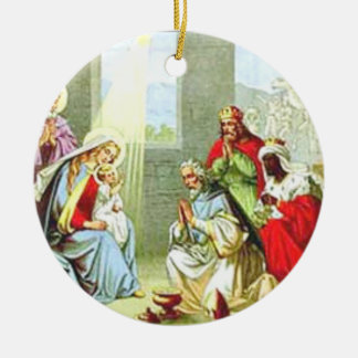 Wise Men At The Nativity Round Ceramic Decoration