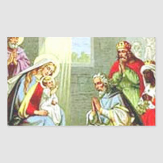 Wise Men At The Nativity Rectangle Sticker
